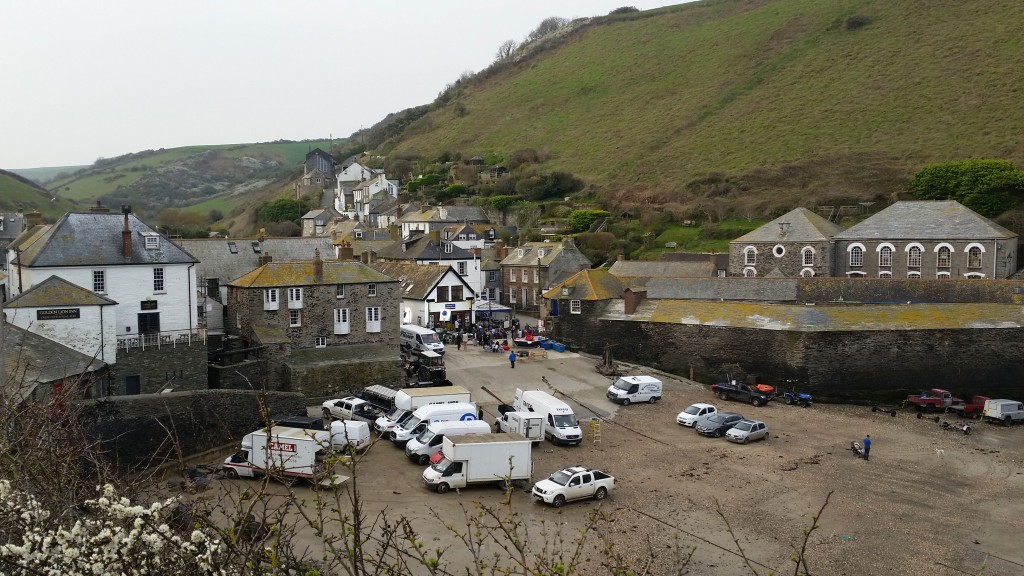 Doc Marting Filming outside Port Isaac Lifeboat house, April 17 2015